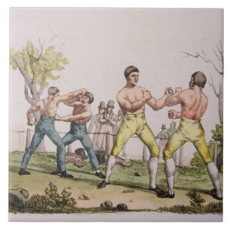 Pugilists, plate 31 from 'The History of the Natio Tile
