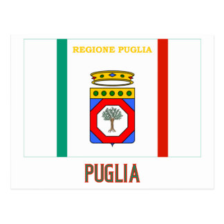 Puglia flag with name postcard