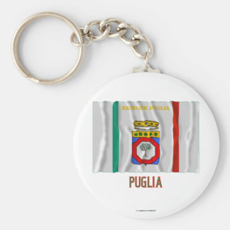 Puglia waving flag with name basic round button key ring