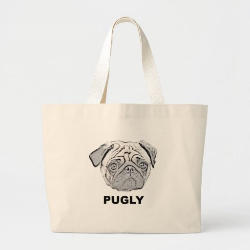 PUGLY the cute and ugly pug Canvas Bags