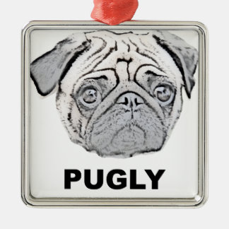 PUGLY the cute and ugly pug Christmas Ornament