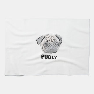 PUGLY the cute and ugly pug Hand Towels