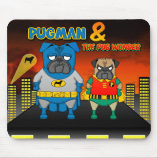 Pugman and The Pug Wonder Mouse Pad