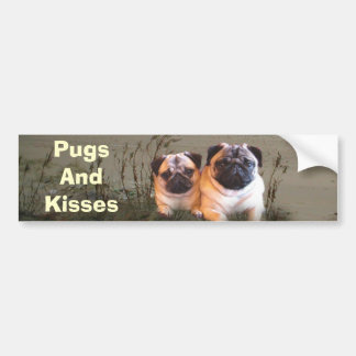 Pugs and Kisses Bumper Sticker