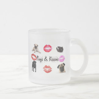 Pugs and Kisses Frosted Glass Coffee Mug