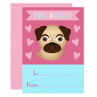 Pugs and Kisses Kid's Valentine Card