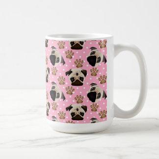 Pugs and Paws on Pink Polka Dots Coffee Mug