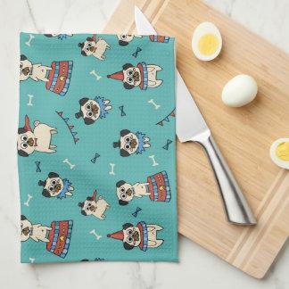 Pugs at the Circus Tea Towel