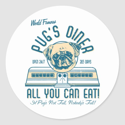 Pug's Diner 50s Vintage Retro Stickers