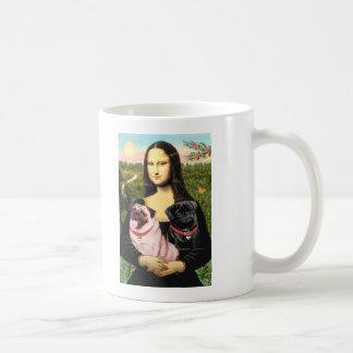 Pugs (Fawn + Blk) - Mona Lisa Basic White Mug
