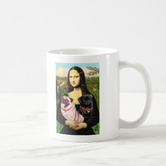 Pugs (Fawn + Blk) - Mona Lisa Coffee Mug