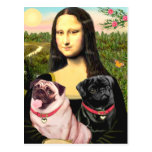 Pugs (Fawn + Blk) - Mona Lisa Post Card