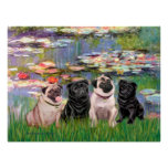 Pugs (Four) - Lilies2 Poster
