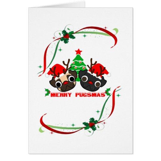 Pugs Greeting Christmas Card