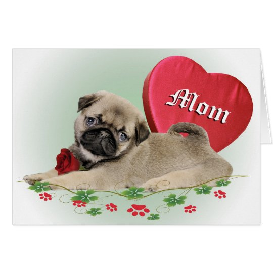 Pugs Heart Belongs To Mum Card