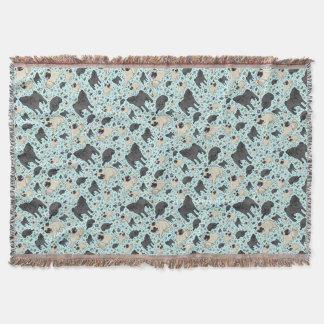 Pugs in Blue Throw Blanket