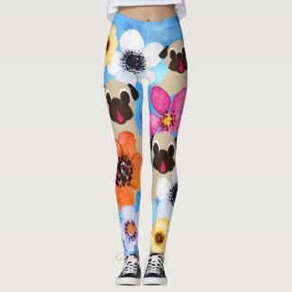 Pugs In Flower Garden Leggings