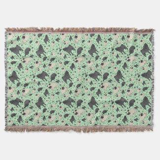 Pugs in Green Throw Blanket