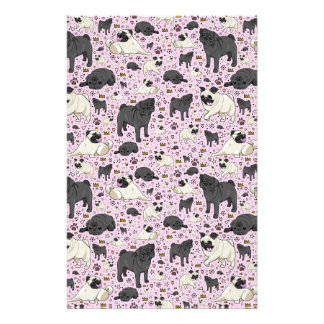 Pugs in Pink Stationery