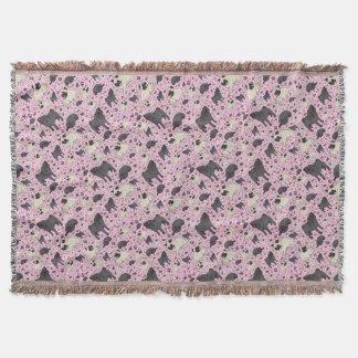 Pugs in Pink Throw Blanket