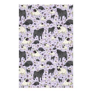 Pugs in Purple Stationery