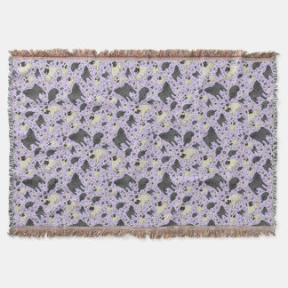 Pugs in Purple Throw Blanket