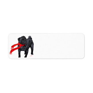 Pugs in Red Scarf Return Address Label