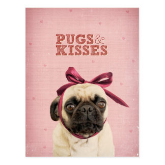 Pugs & Kisses by itslolathepug Postcard