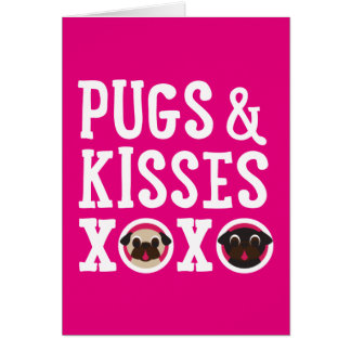 Pugs & Kisses Happy Valentine's Day Greeting Card