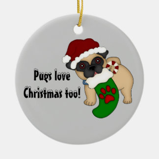 Pugs Love Christmas too! #2 Ornament
