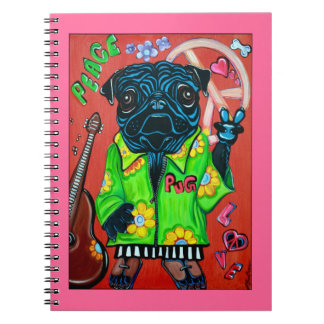 Pugs Love Peace Notebook