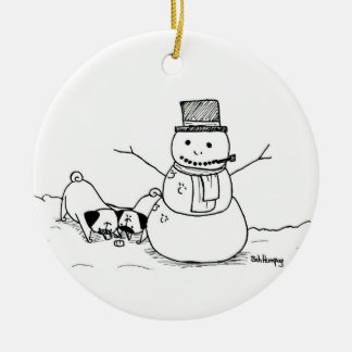 Pugs Love Snowmen Christmas Ornament