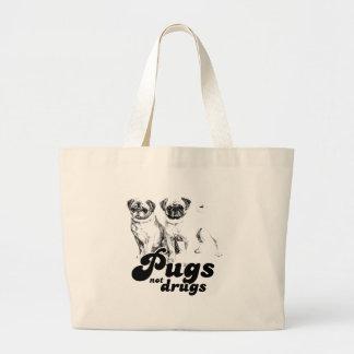 PUGS NOT DRUGS 2 JUMBO TOTE BAG