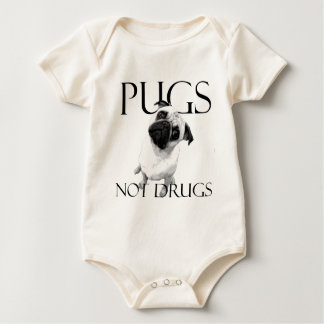 Pugs Not Drugs Baby Bodysuit