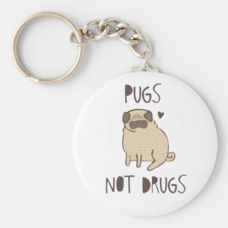 Pugs Not Drugs Basic Round Button Key Ring