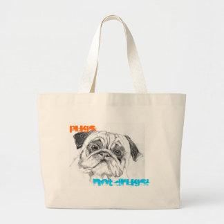Pugs Not Drugs Jumbo Tote Bag