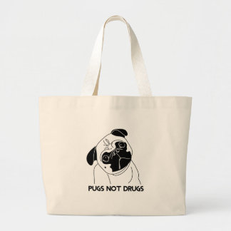 Pugs Not Drugs Large Tote Bag