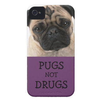 Pugs Not Drugs Purple iPhone 4 Case