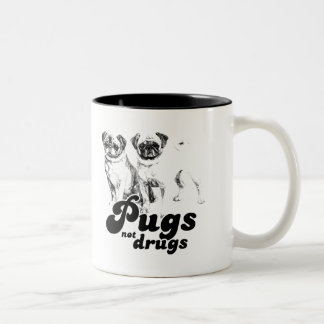 PUGS NOT DRUGS T-shirt Two-Tone Coffee Mug