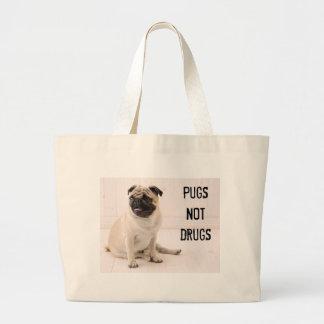 Pugs Not Drugs Tote Jumbo Tote Bag