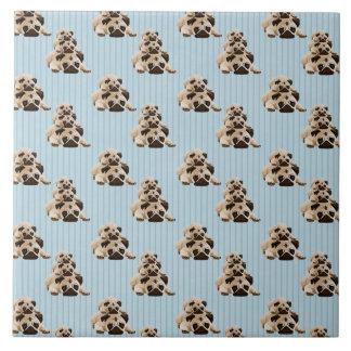 Pugs on Blue Stripes Tile