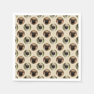 Pugs polka dot custom background paper napkin