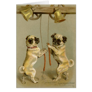 Pugs Ringing Bell greeting card