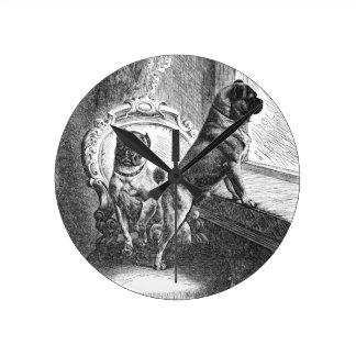 Pugs Round Clock