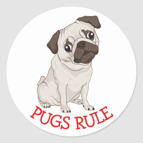 Pugs Rule! Pug Puppy Dog Cartoon Sticker /