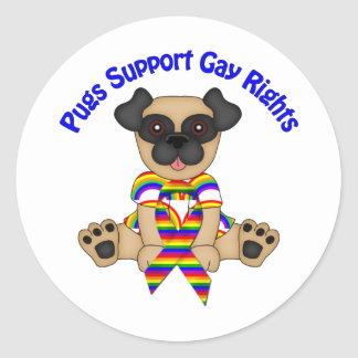 Pugs Support Gay Rights Tees and Gifts Round Stickers