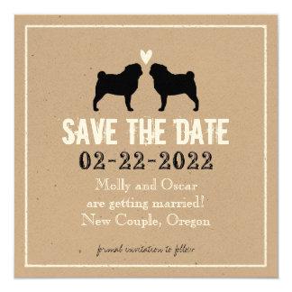 Pugs Wedding Save the Date 13 Cm X 13 Cm Square Invitation Card