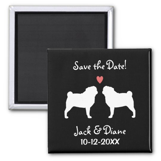 Pugs Wedding Save the Date Magnet