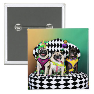 Pugsgiving Mardi Gras 2015 - Diamond Darla & Lilly 15 Cm Square Badge