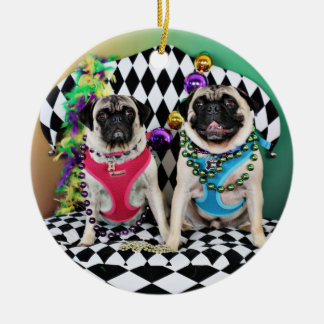 Pugsgiving Mardi Gras 2015 - Moose & Maggie - Pugs Christmas Ornament